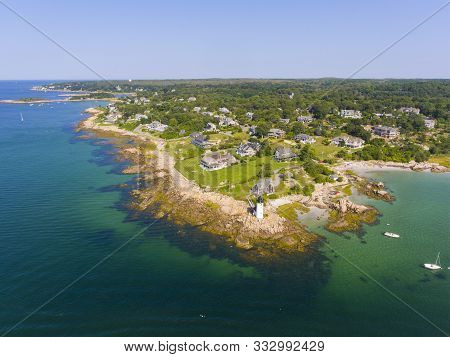 Annisquam Harbor Lighthouse Top View, Gloucester, Cape Ann, Massachusetts, Ma, Usa. This Historic Li