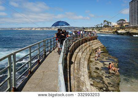 Beachgoers Enjoying A Beautiful Sunny Day At La Jolla Cove In San Diego, California, Usa. August, 22