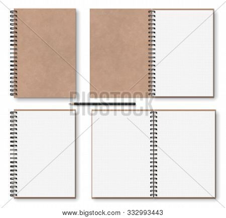 Realistic Blank Open, Closed Brown Kraft Paper Texture Notebook With Black Metal Spiral On Left, Woo