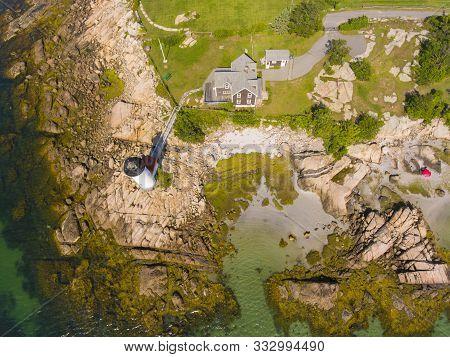 Annisquam Harbor Lighthouse Top View, Gloucester, Cape Ann, Massachusetts, Ma, Usa. This Historic Li