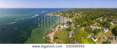 Annisquam Harbor Lighthouse Panorama Aerial View, Gloucester, Cape Ann, Massachusetts, Ma, Usa. This
