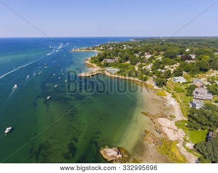 Annisquam Village Coastline Aerial View Near Wingaersheek Beach In City Of Gloucester, Cape Ann, Mas