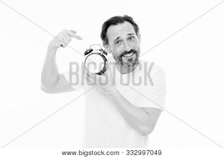 Ringing Alarm Clock. Personal Schedule And Daily Regime. Alarm Clock Morning Time. Man Bearded Matur