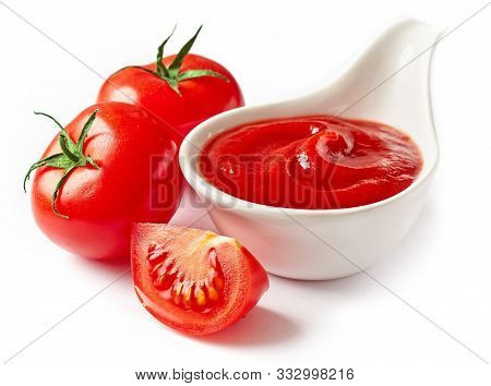 Bowl Of Tomato Sauce Ketchup Isolated On White Background