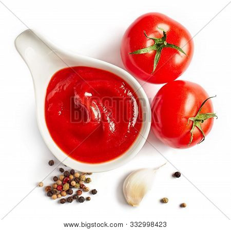 Bowl Of Tomato Sauce Ketchup Isolated On White Background, Top View, Selective Focus