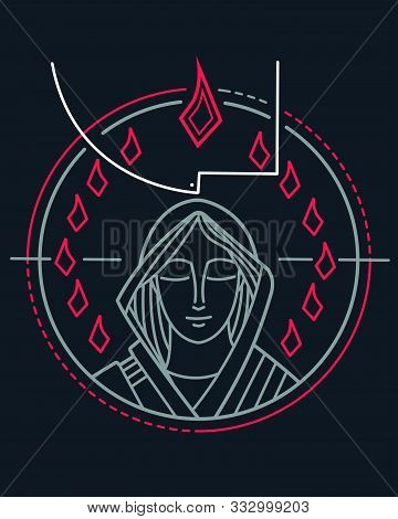 Vector Illustration Of Virgin Mary And Holy Spirit At Pentecost