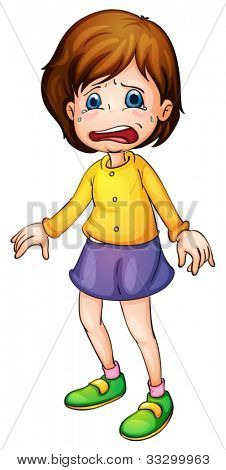 Illustration of a girl crying