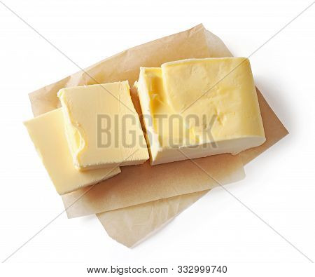 Pieces Of Butter Isolated On White Background