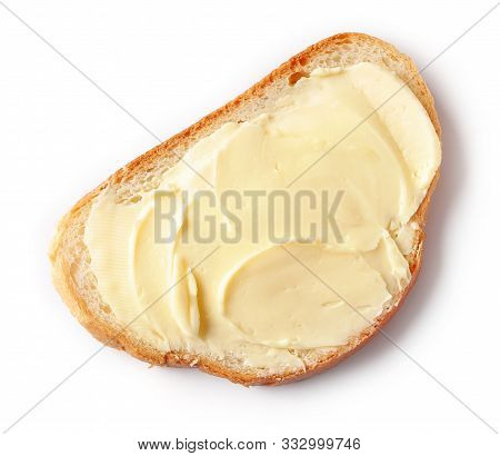 Bread With Butter Isolated On White Background, Top View