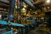 Chemical factory. Elastomer and thermoplastic production line poster