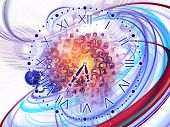 Composition of gears clock elements dials and dynamic swirly lines on the subject of scheduling temporal and time related processes deadlines progress past present and future poster