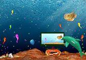 Landscape: sea inhabitants watch monitor under water poster