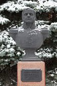 Bust (sculpture) of colonel Neverovsky. Smolensk. Russia. poster