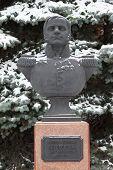 Bust (sculpture) of colonel Neverovsky. Smolensk. Russia. poster