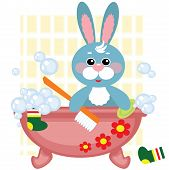 Blue toy hare showering in bath ,vector poster