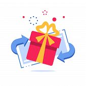 Prize giveaway, loyalty card, present box, gift certificate, incentive or perks, bonus program, discount coupon, vector flat design illustration poster
