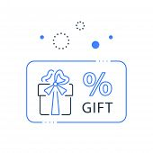 Prize giveaway, loyalty card, present box, percentage sign and gift certificate, incentive or perks, bonus program, discount coupon, vector line icon poster