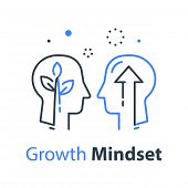 Two human head profiles, arrow up and plant stem, next level self improvement, leader training and mentoring, pursuit of success, self esteem and confidence, vector linear design poster