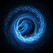 abstract ocean blue wave wheel on dark background poster
