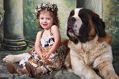Child and Her Saint Bernard Puppy Dog poster