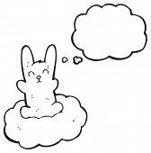 cartoon rabbit floating on cloud poster