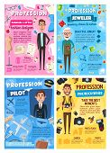 Professions of photographer, pilot, jeweler and tailor vector design. Aircraft captain, goldsmith, cameraman and fashion designer occupation posters with men, airplane, camera, jewelry, sewing machine poster