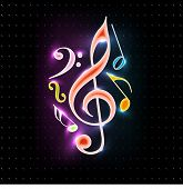 Abstract colorful shiny musical notes on isolated dark color background.EPS 10. can be use as banner, tag, icon, sticker, flyer or poster. poster
