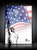 Statue of liberty on American flag  background for 4th July American Independence Day and other events. Vector illustration. EPS 10. poster