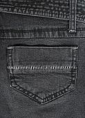 Closeup of black jeans pocket with white stitches. poster