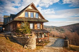 Mountain Cottage Among Forests   In Autumn. Landscape In The Silesian Beskids Mountains, Poland
