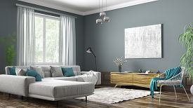 Modern Interior Design Of Scandinavian Apartment, Living Room With Grey Sofa, Sideboard And White Ar