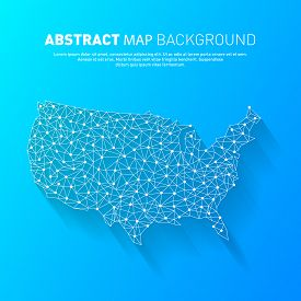Abstract United States Line Map, Vector, Illustration, Eps File