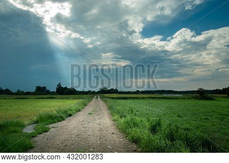 Sunbeams In The Clouds And Dirt Road, Nowiny, Lubelskie, Poland
