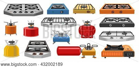 Camping Stove Vector Cartoon Icon Set . Collection Vector Illustration Furnace Travel On White Backg