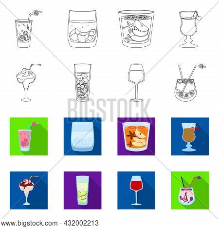 Vector Design Of Liquor And Restaurant Icon. Collection Of Liquor And Ingredient Stock Vector Illust