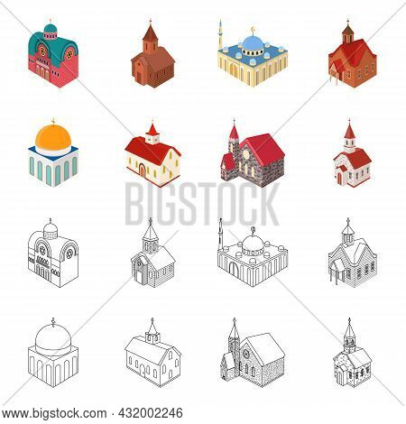 Vector Illustration Of Temple And Historic Logo. Set Of Temple And Faith Stock Symbol For Web.