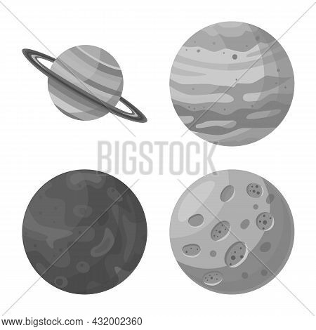 Vector Design Of Universe And Astronomy Logo. Set Of Universe And Galaxy Stock Vector Illustration.