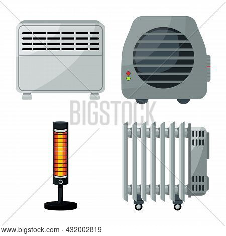 Vector Illustration Of Electric And Heat Logo. Collection Of Electric And Heating Stock Vector Illus