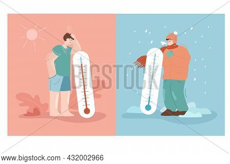 Tiny Men Standing Near Giant Thermometers In Hot, Cold Weather. Flat Vector Illustration. Male Chara