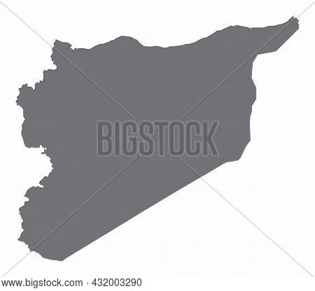 Syria Silhouette Map Isolated On White Background