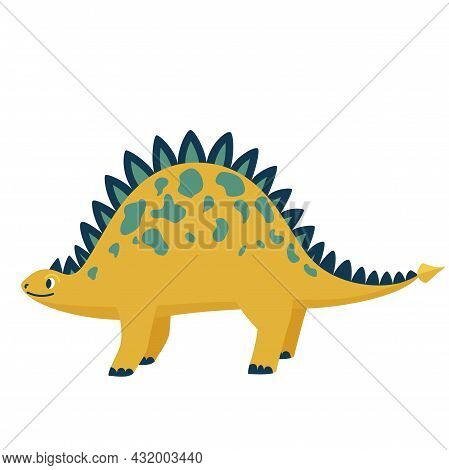 Cute Baby Dinosaur Stegosaurus Isolated On White Background. Kid Character Dino Monster For Cool Nur