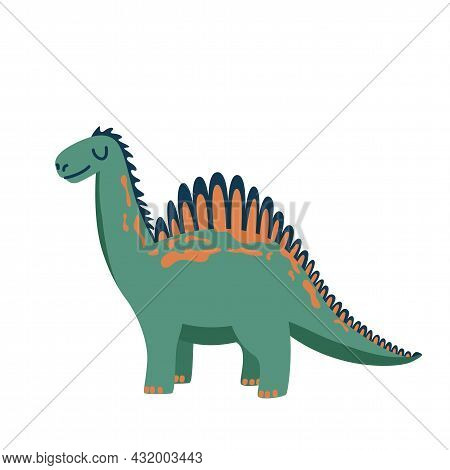 Cute Baby Dinosaur Isolated On White Background. Kid Character Dino Monster For Cool Nursery Prints