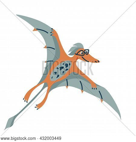 Cute Baby Dinosaur Pteranodon Isolated On White Background. Kid Character Dino Monster For Cool Nurs