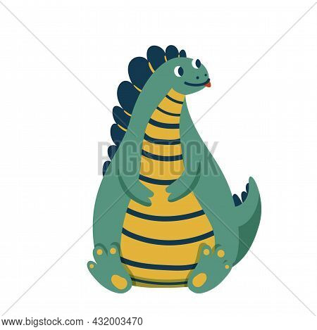 Cute Baby Fat Dinosaur Sitting On His Ass And Showing Tongue, Isolated On White Background. Kid Char