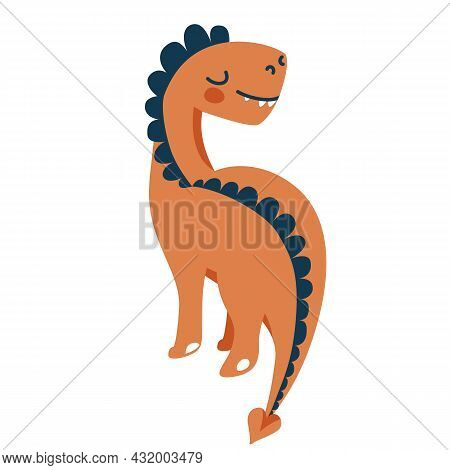Cute Baby Playful Dinosaur Tyrannosaurus Isolated On White Background. Kid Character Dino Monster Fo