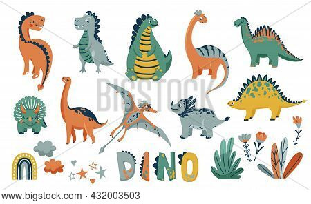 Dino Cute Vector Illustration Set With Animal Baby Dinosaurs And Design Elements In Flat Cartoon Sca
