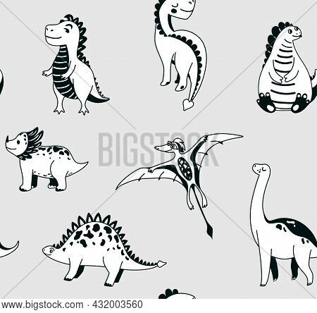 Cute Dinosaurs Seamless Vector Pattern With Graphic Dino On Grey Background. Cool Kid Nursery Print