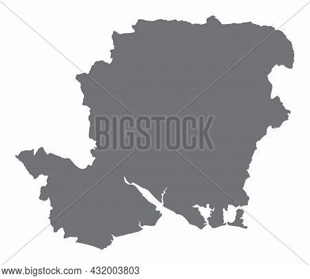Hampshire County Silhouette Map Isolated On White Background, England