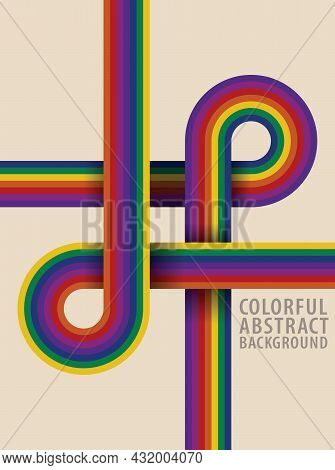 Abstract Pattern. Rainbow Curves Intersect Each Other. Colorful Background Retro Style Tones. Templa