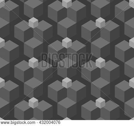 Abstract Background Seamless Geometric Pattern. Cube Shape, Diamond Shape. Monochrome Color. Surface